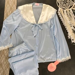 Vintage nylon blue pajama set lace sailor collar